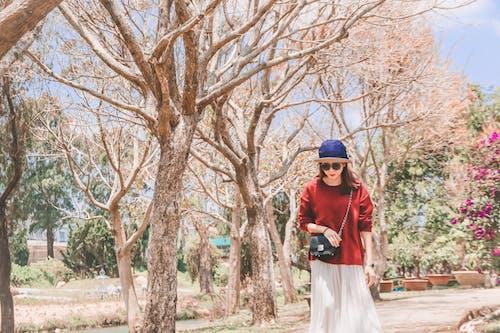 Ingyenes stockfotó ázsiai nő, csupasz fák, egyedül, gyalogló témában