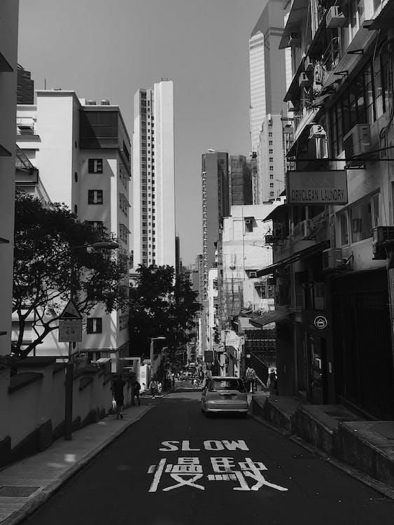 ασπρόμαυρο, αστικός, αυτοκίνητο