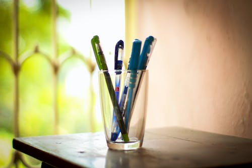 Free stock photo of glass, pens