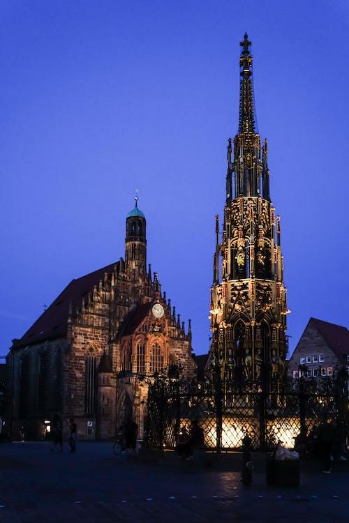 Free stock photo of frauenkirche, history main market nuremberg, night city