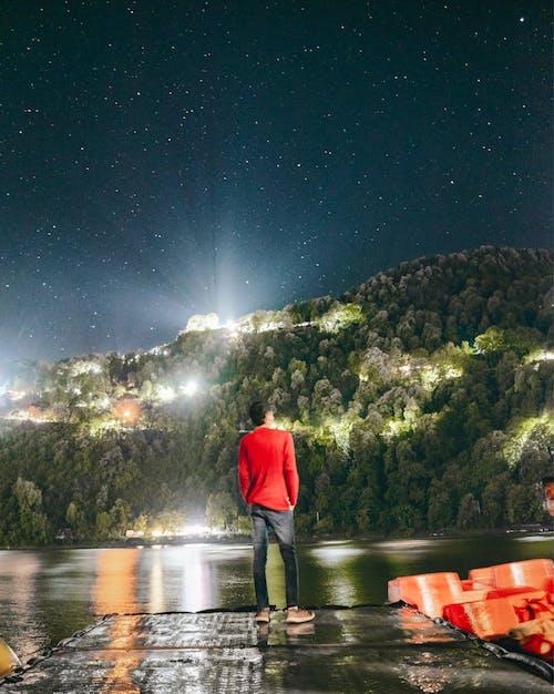 밤, 산, 장시간 노출, 천체 사진의 무료 스톡 사진