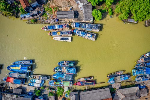Top View Photo of Boats on River