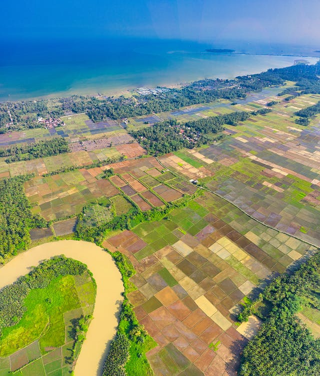 Aerial Photo of Land Near Sea
