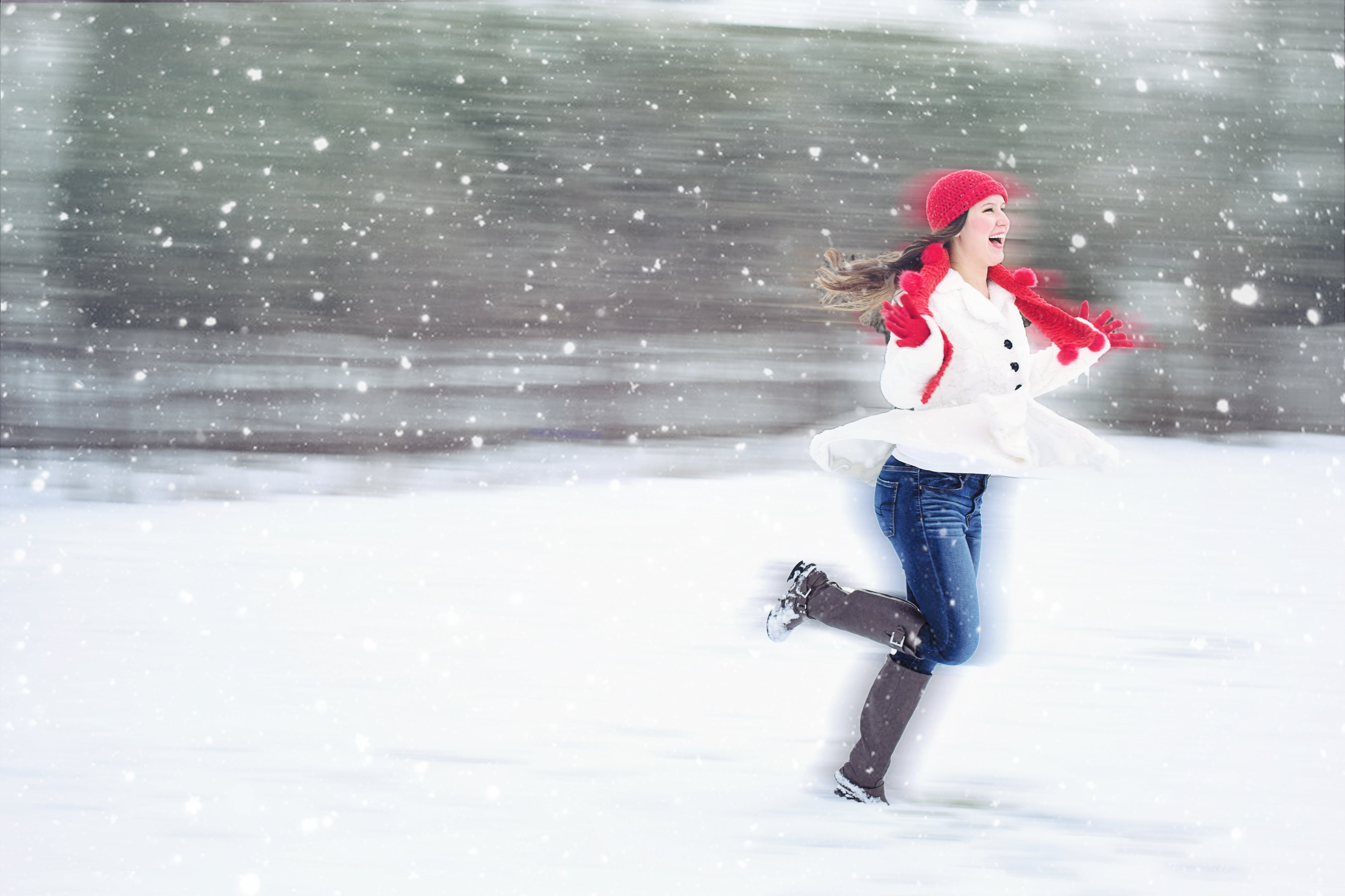 con gái, hạnh phúc, lạnh