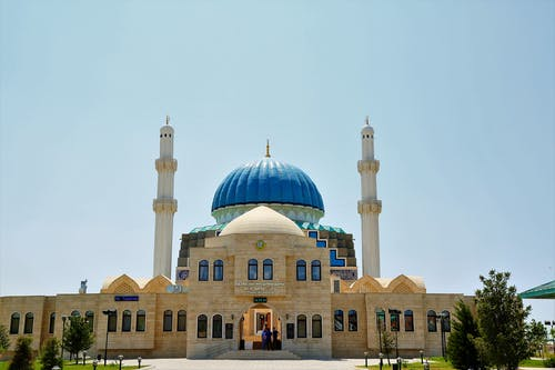 White and Blue Concrete Mosque
