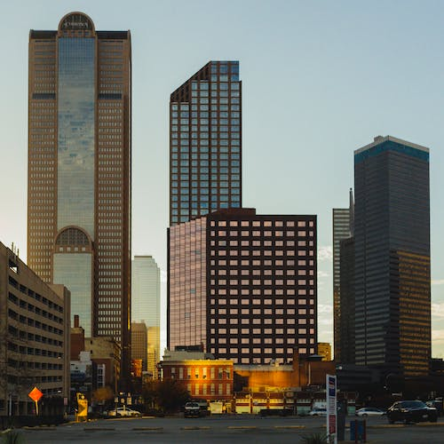 Lighted Buildings during Dusk