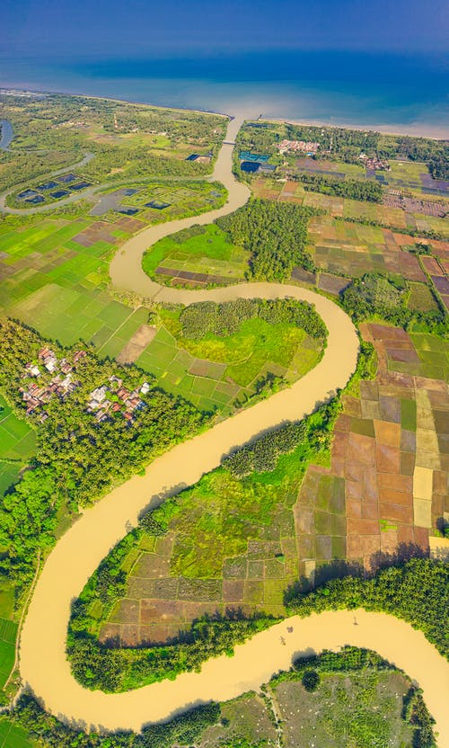 Aerial Photography River Near Farmland
