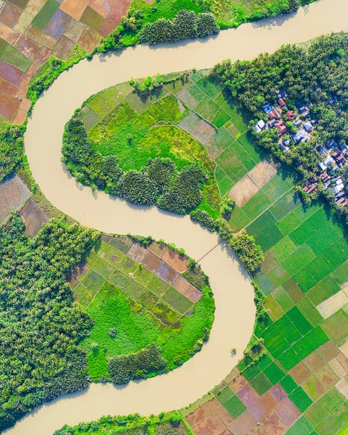 Top View Photo of River Near Farmland