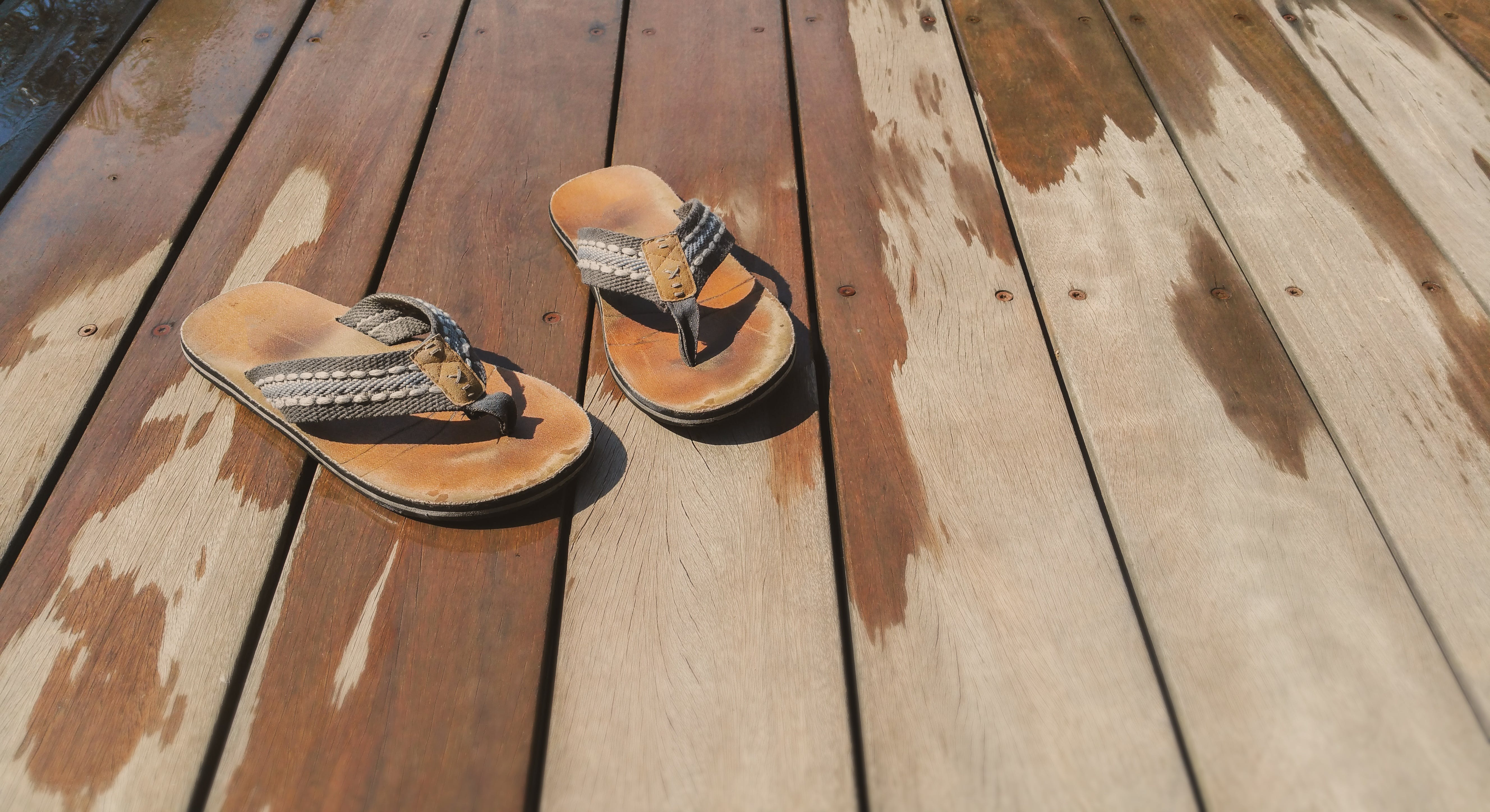 High Angle View of Shoes on Pier