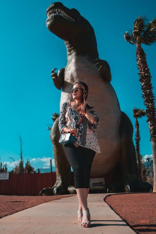 Kostenloses Stock Foto zu dinosaurier, erwachsener, ferien, fotoshooting