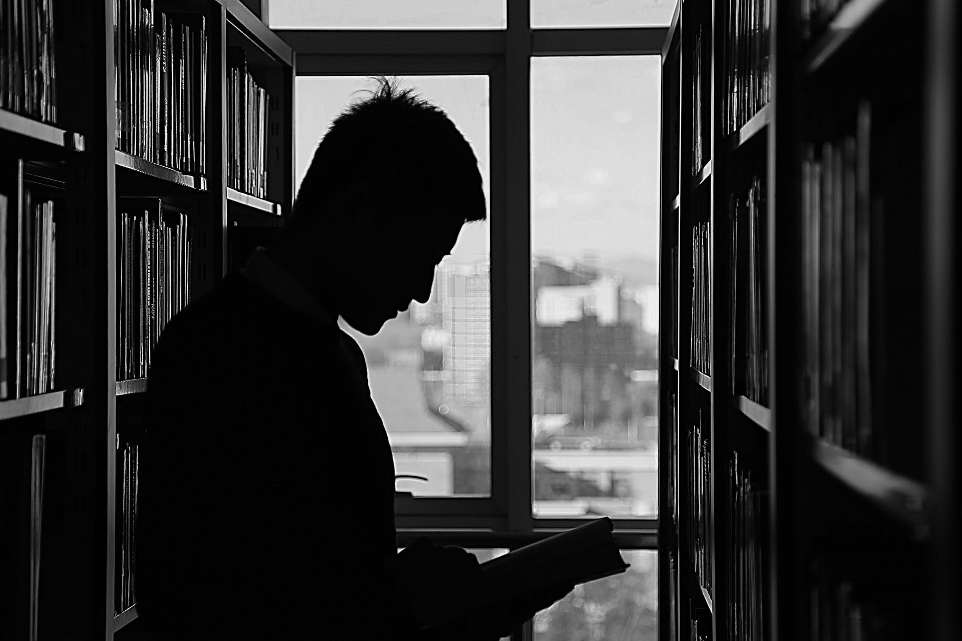 shadow of man reading inside a library