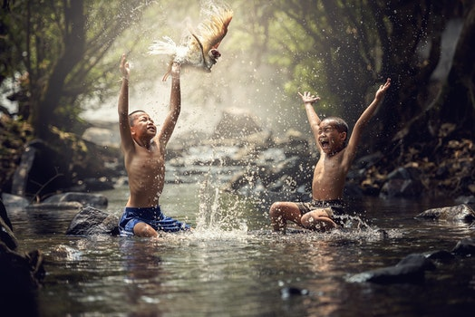 Full Length of Man Swimming in Water