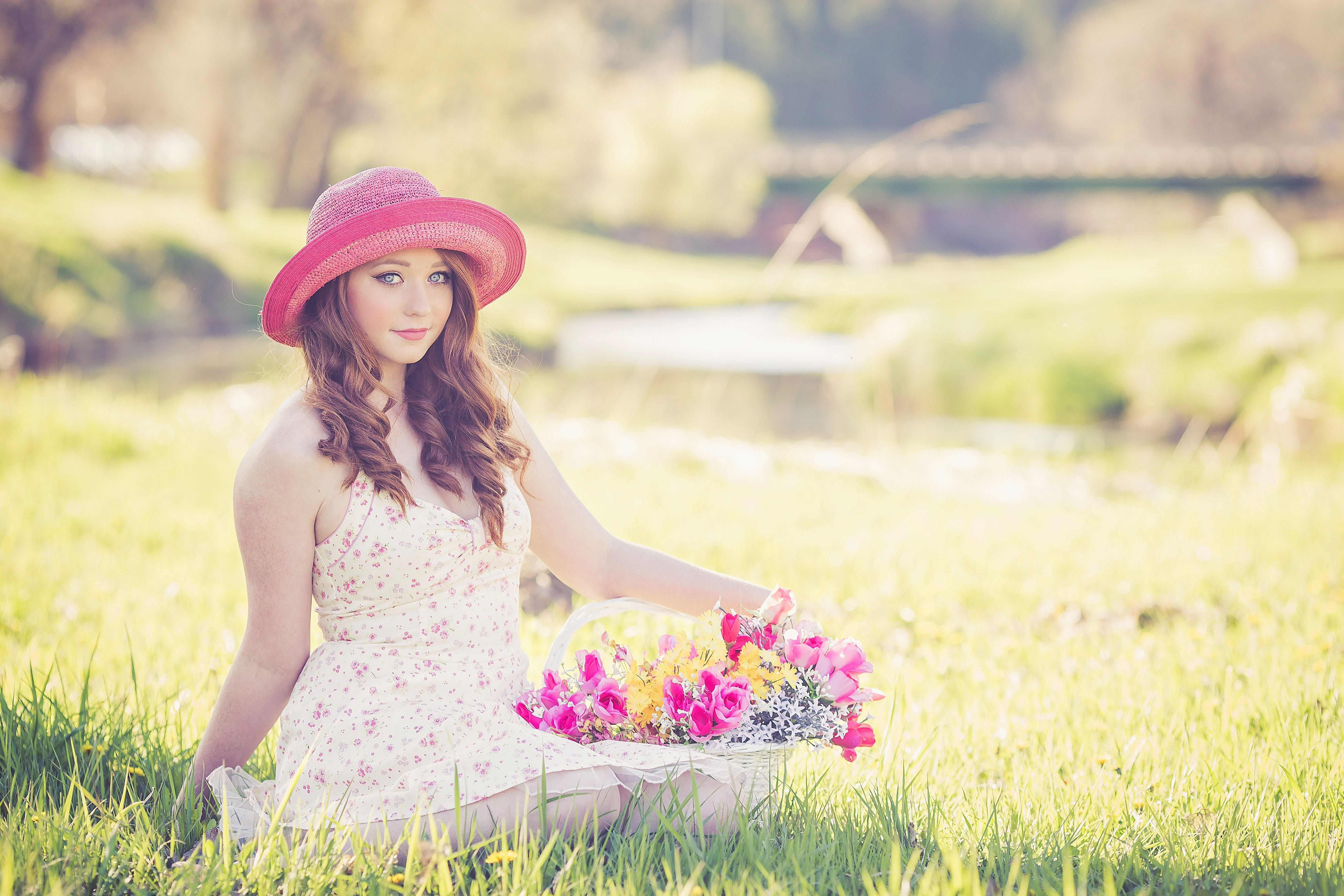 Portrait of a Beautiful Young Woman in Field