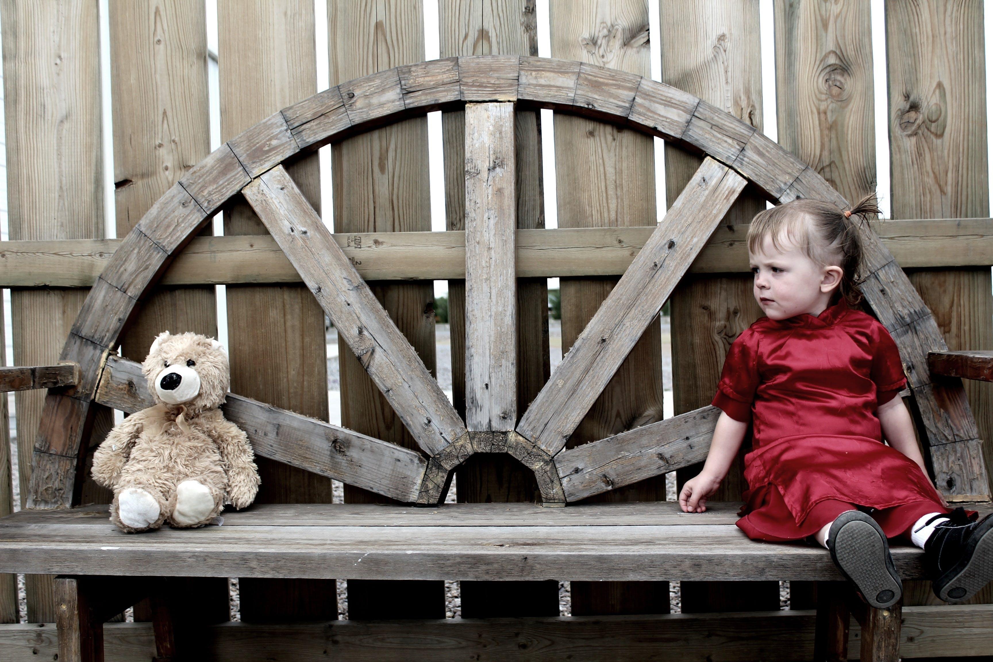 Gratis lagerfoto af bamse, barn, bænk, kjole