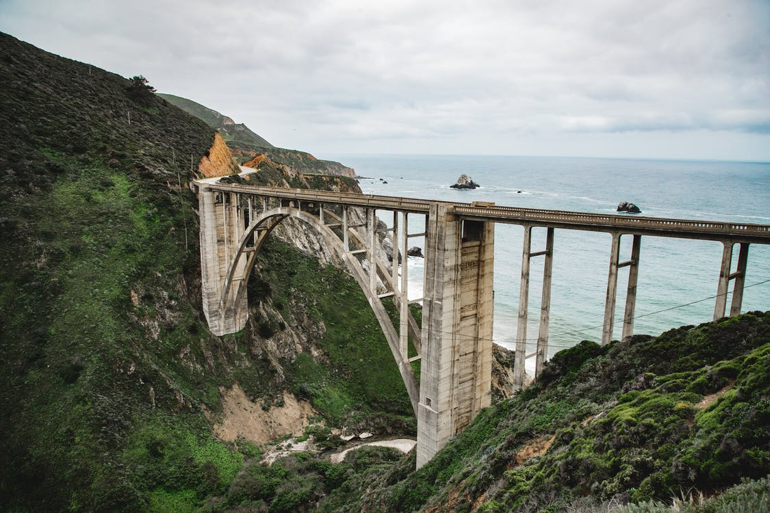 Aerial Photo of Bixby Creek Bridge  on the Big Sur coast of California,USA