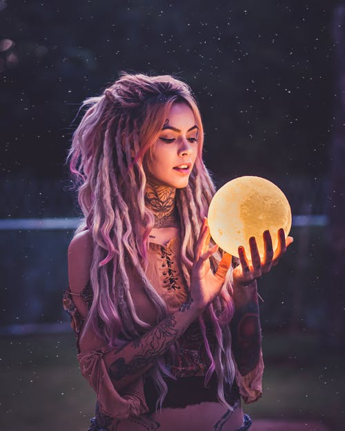 Woman Holding 3D Moon Lamp Led Lights Decoration