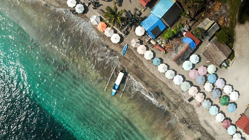 Aerial View of Boat on Seashore