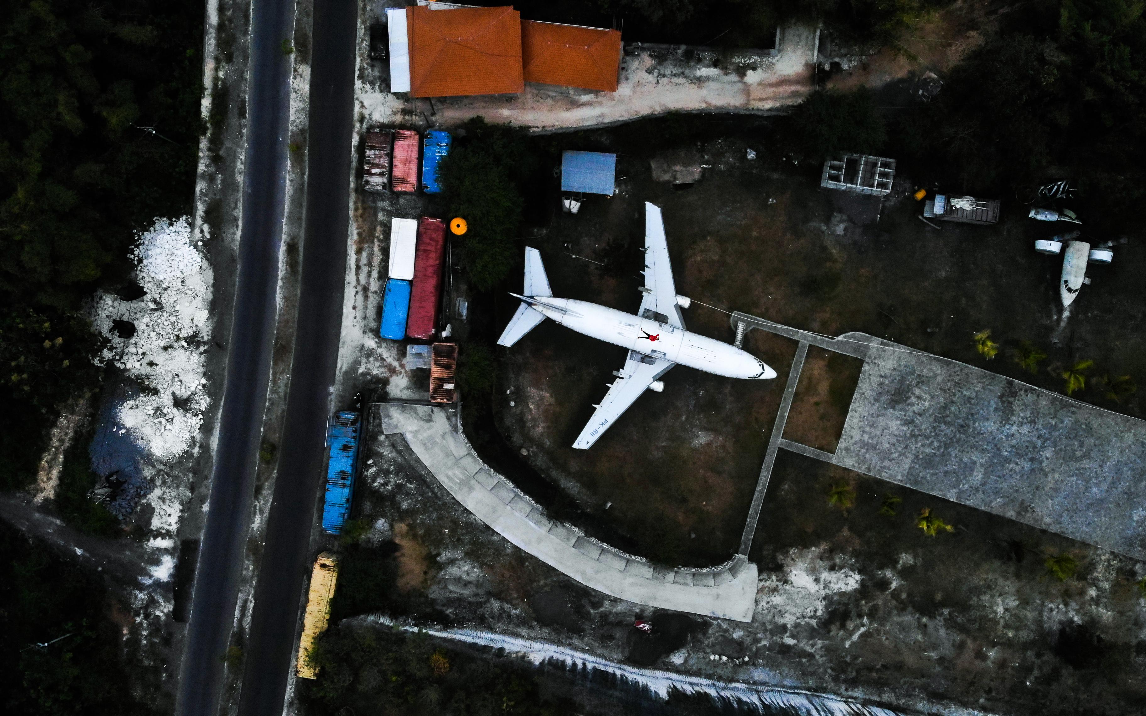 Aerial Shot Of White Airplane