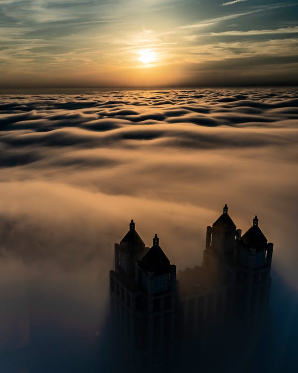 Castle on Top of the Mountain With Sea of Clouds