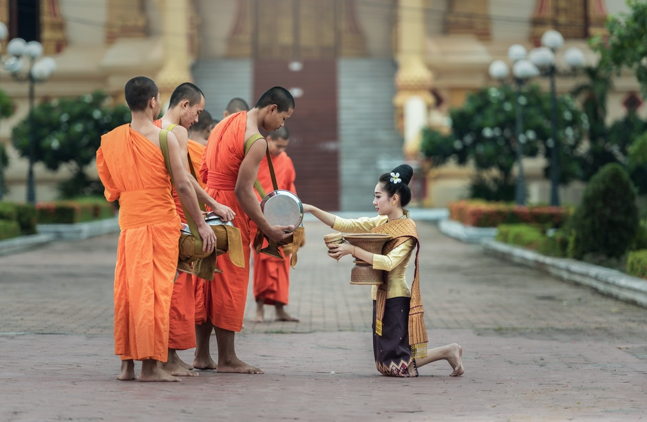 Theravada Buddhist Monk On Street