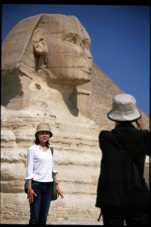 Two People Standing in Front of Great Sphinx of Giza, Egypt during Day