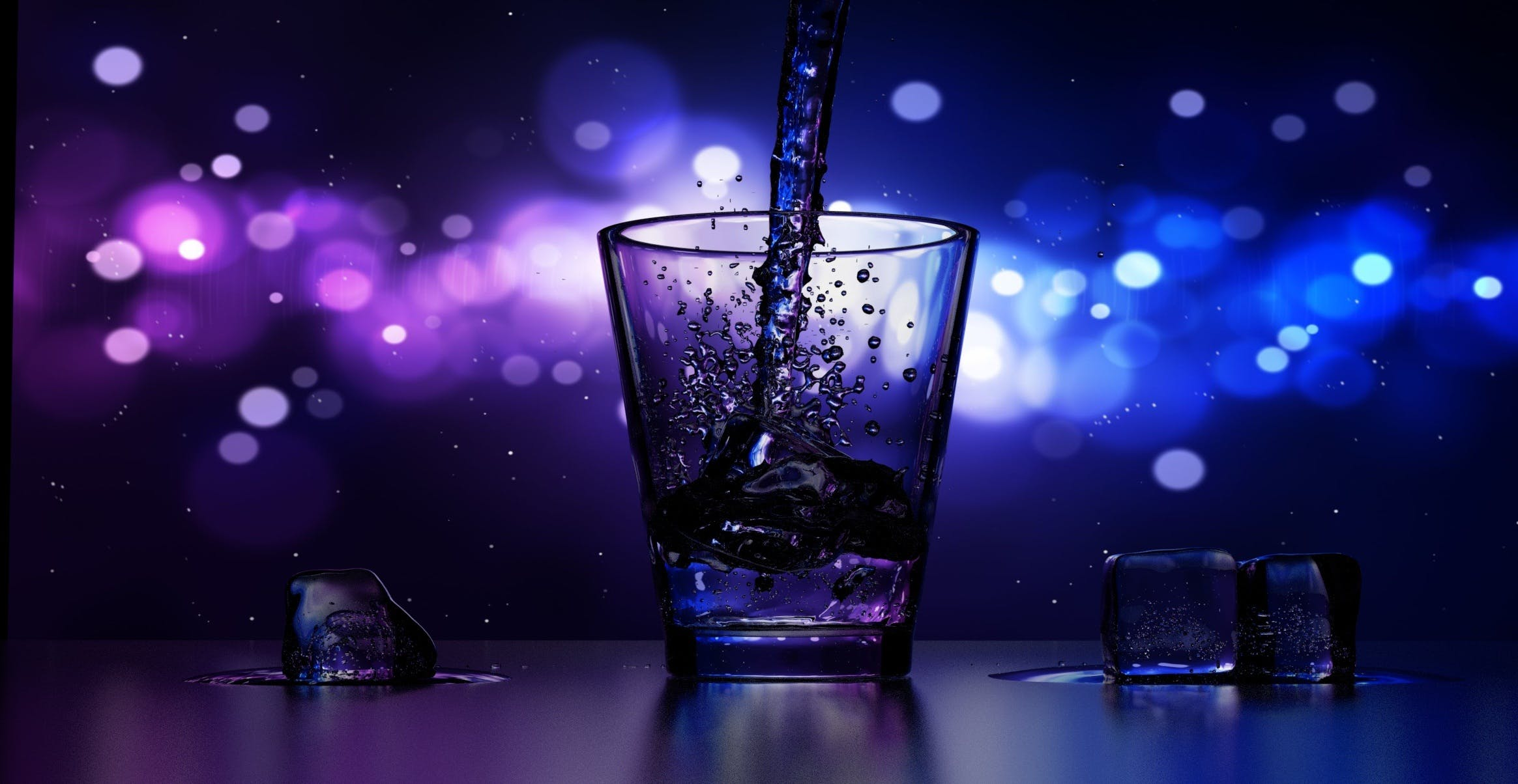 Close-up of Water Splashing in Drinking Glass