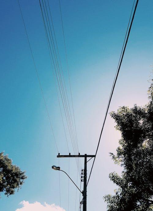 Foto d'estoc gratuïta de filferro, línies elèctriques, pal, silueta