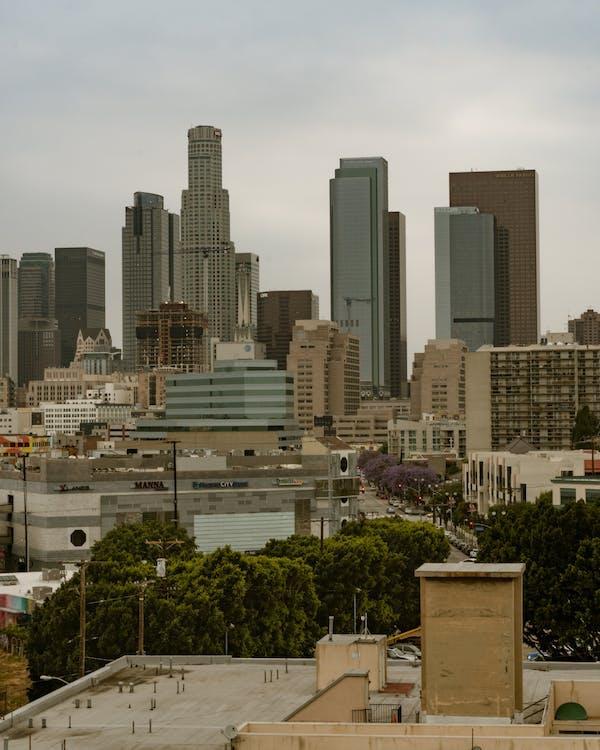 downtown la, горизонт, Лос-Анджелес