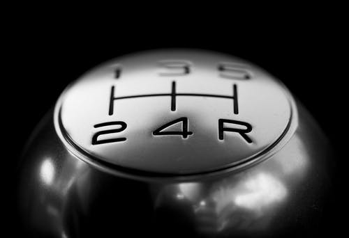 Close-up of  Gear Shift over Black Background