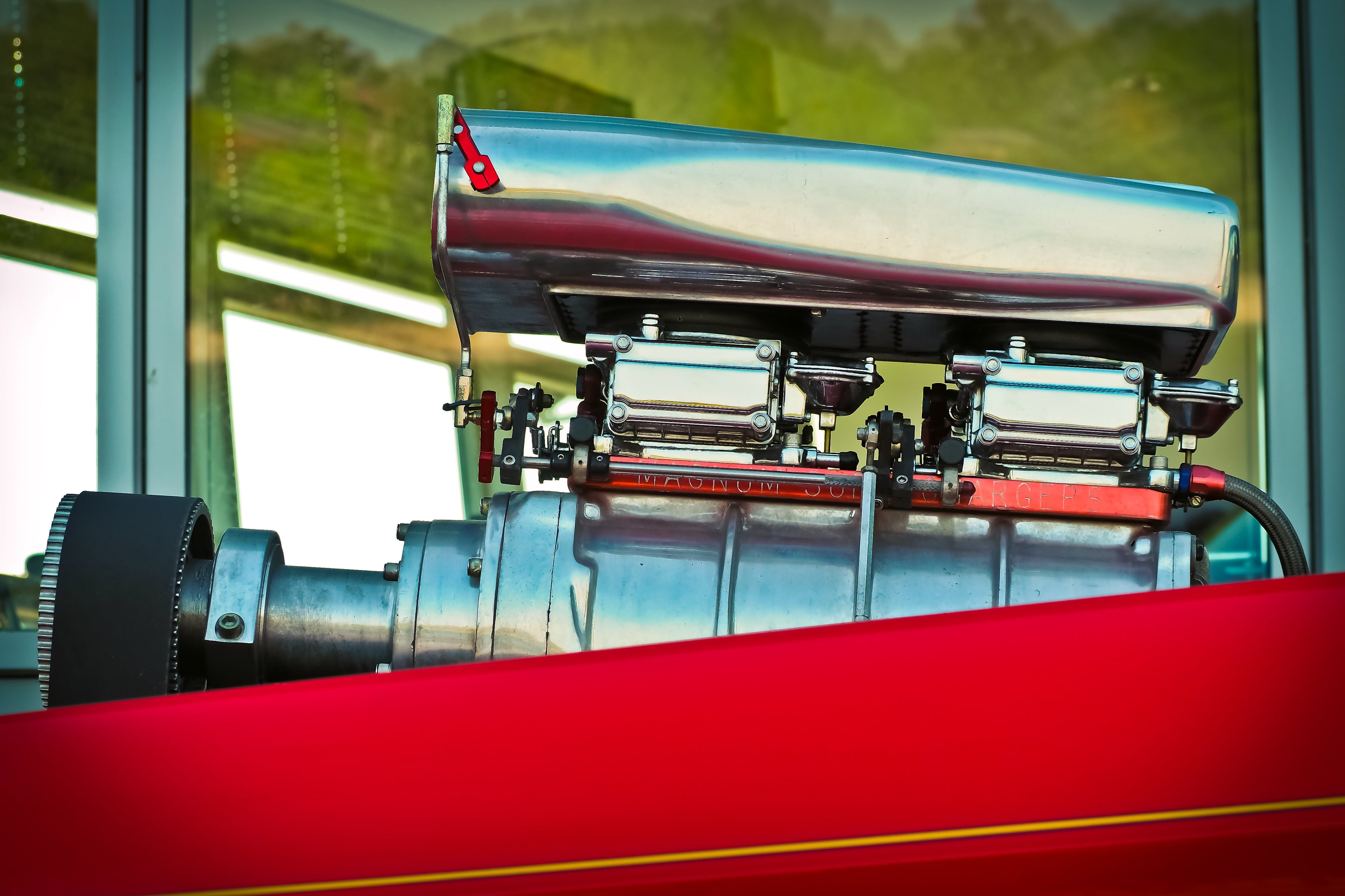 Close-up View of Red And Silver Engine