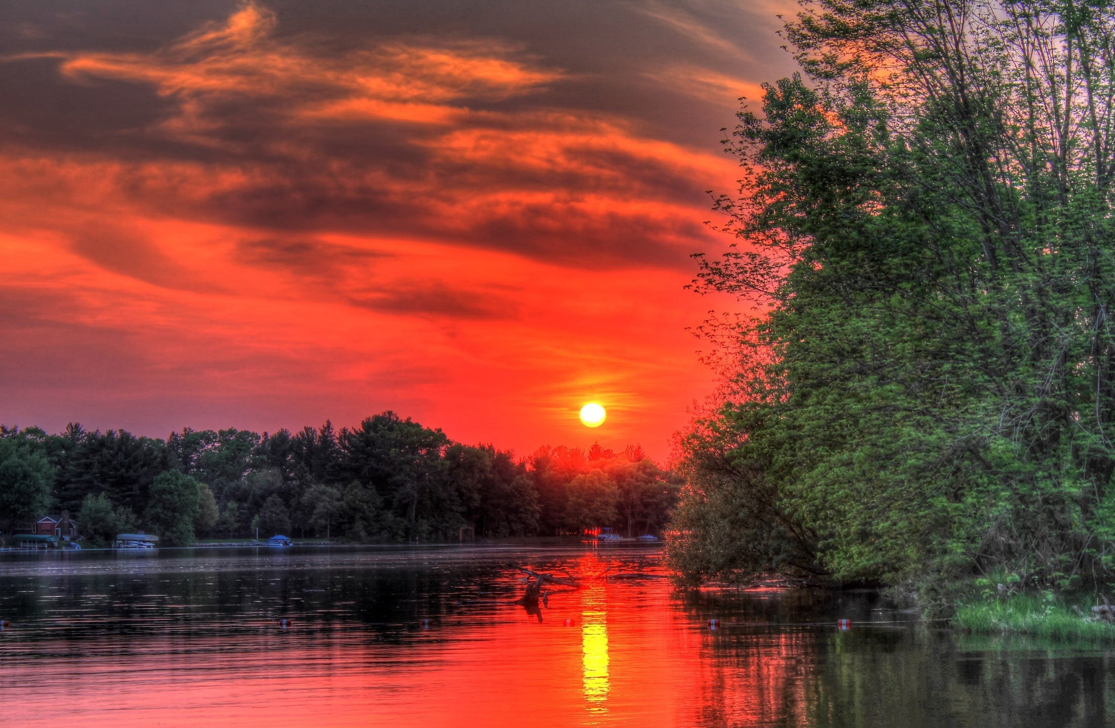 Scenic View of Lake during Sunset