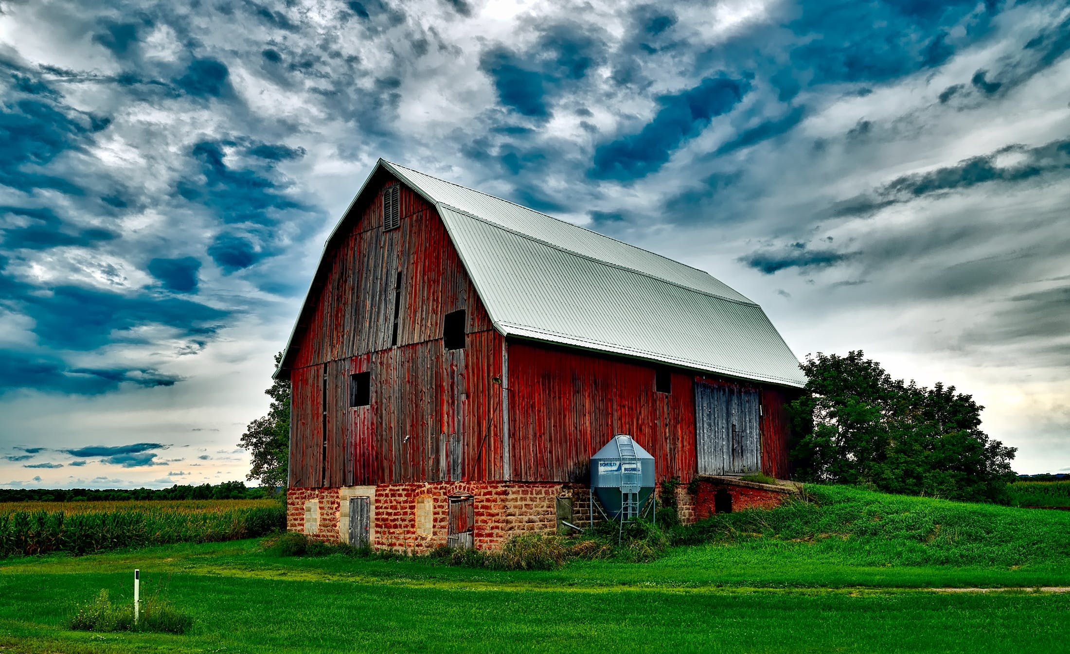 Barn on Field Against Sky