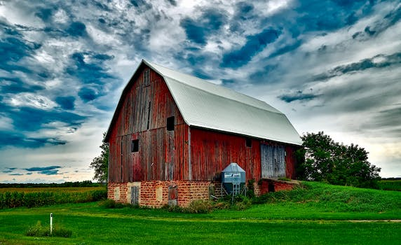 Houses In Farm Against Cloudy Sky 183 Free Stock Photo
