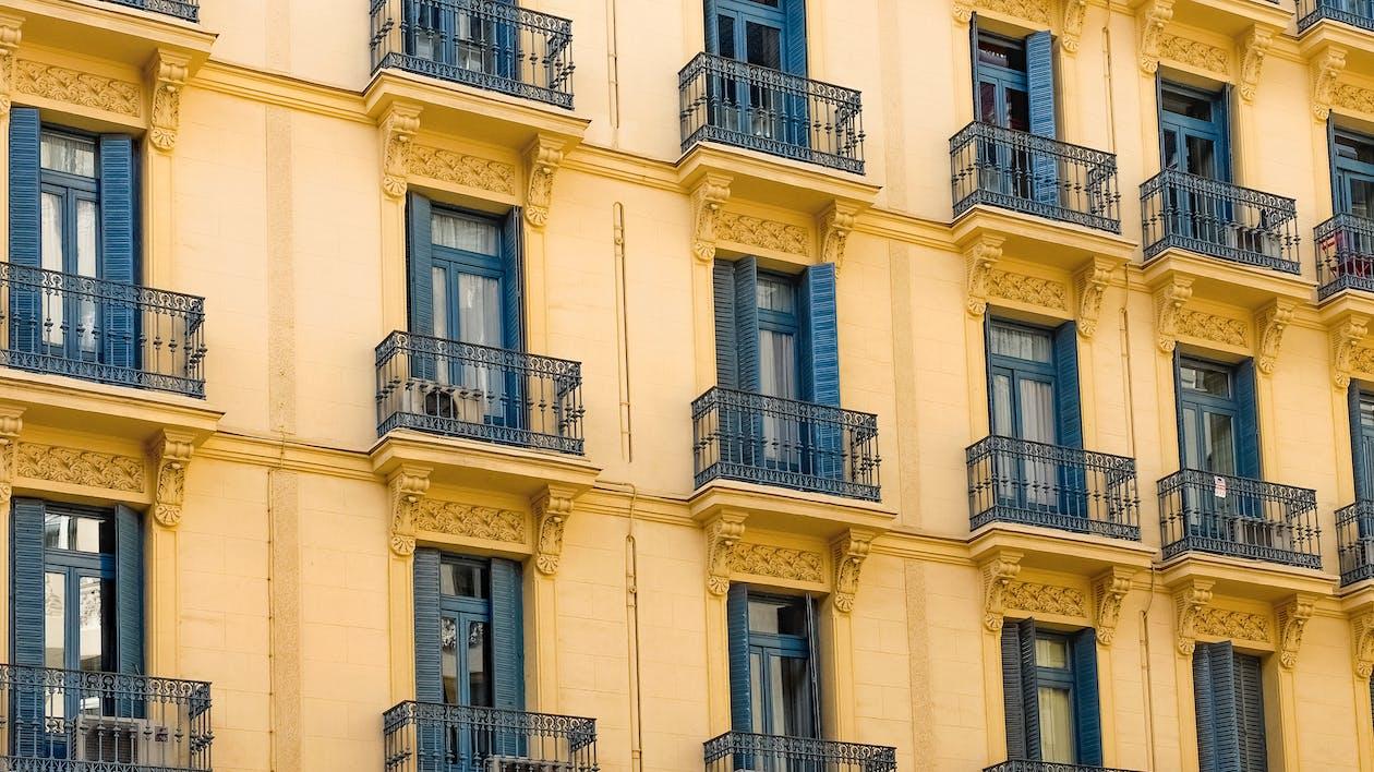 architektur, außen, balkon