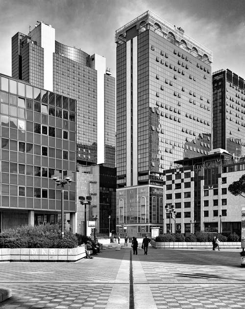 คลังภาพถ่ายฟรี ของ ขาวดำ, ตัวเมือง, ตึก, ทิวทัศน์เมือง