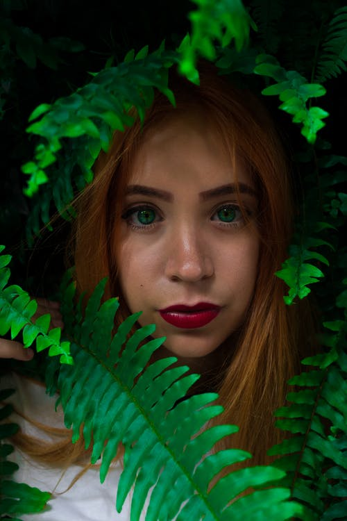 Photo of Woman Near Fern Plants