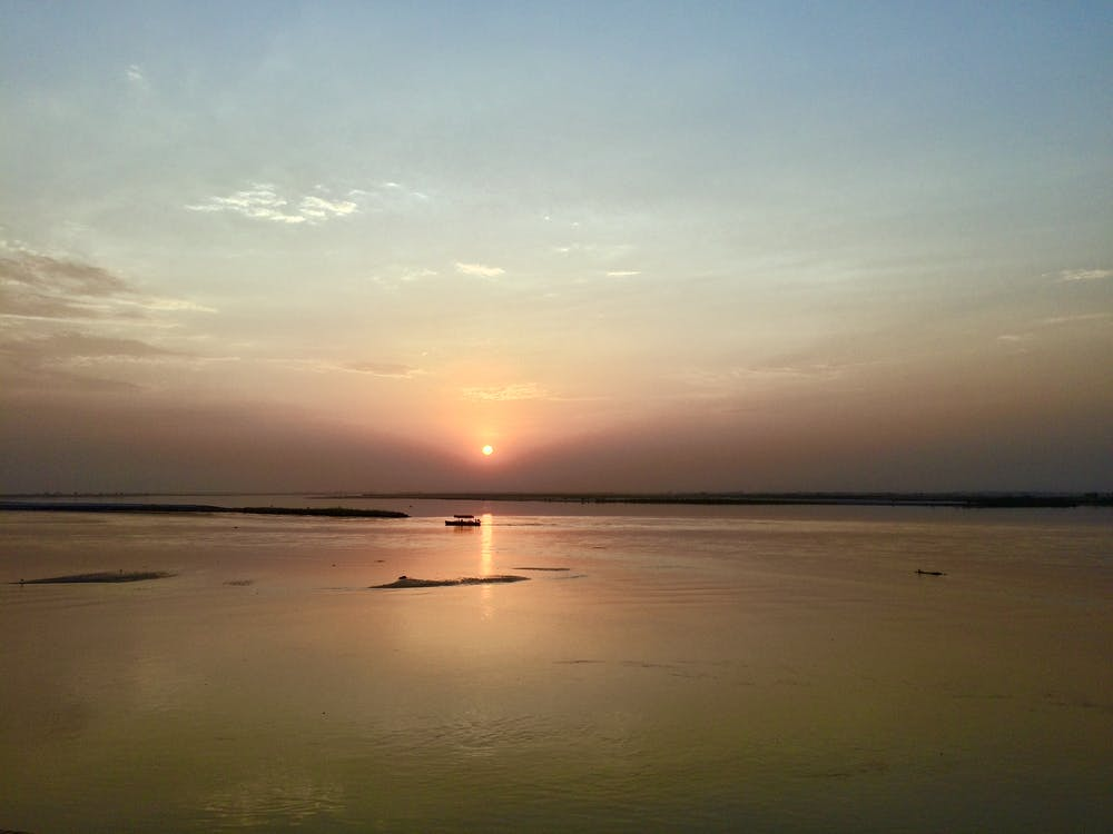 закат, лодка, рассвет сумерки
