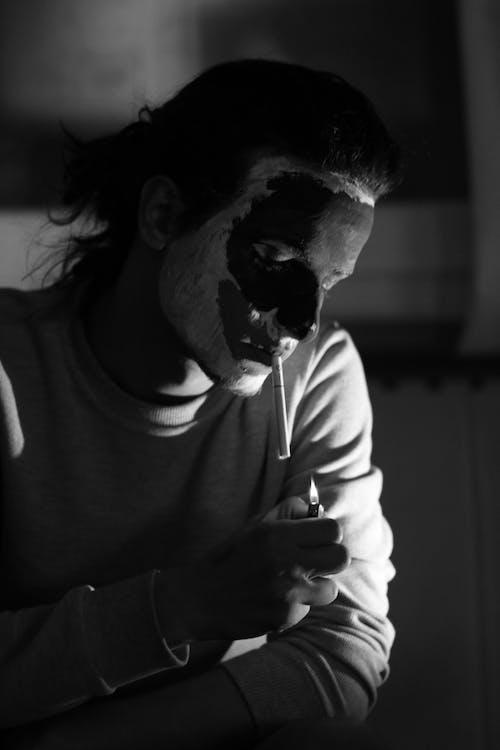 おとこ, 人, 喫煙, 白黒の無料の写真素材
