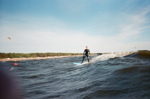 Man Wearing Black Wet Suit Surfing