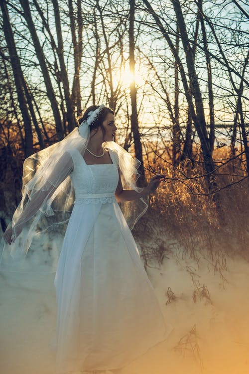 Darmowe zdjęcie z galerii z biała sukienka, biały, dama, drzewa