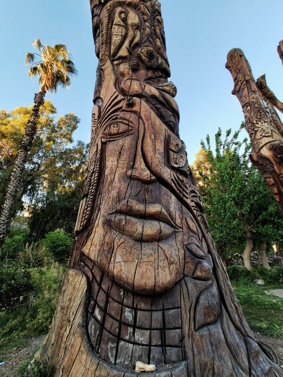 Shallow Focus Photo of Brown Wooden Totem Pole
