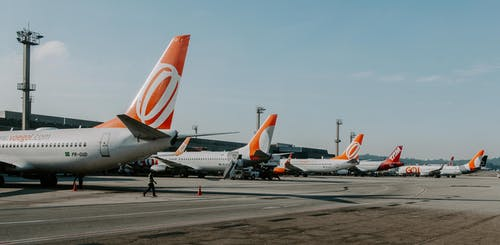 White-and-orange Airliners