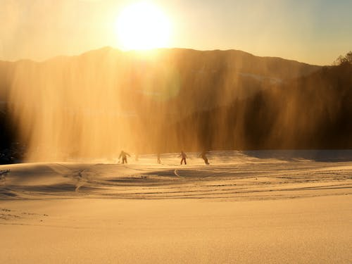 People Snowboard during Golden Hour