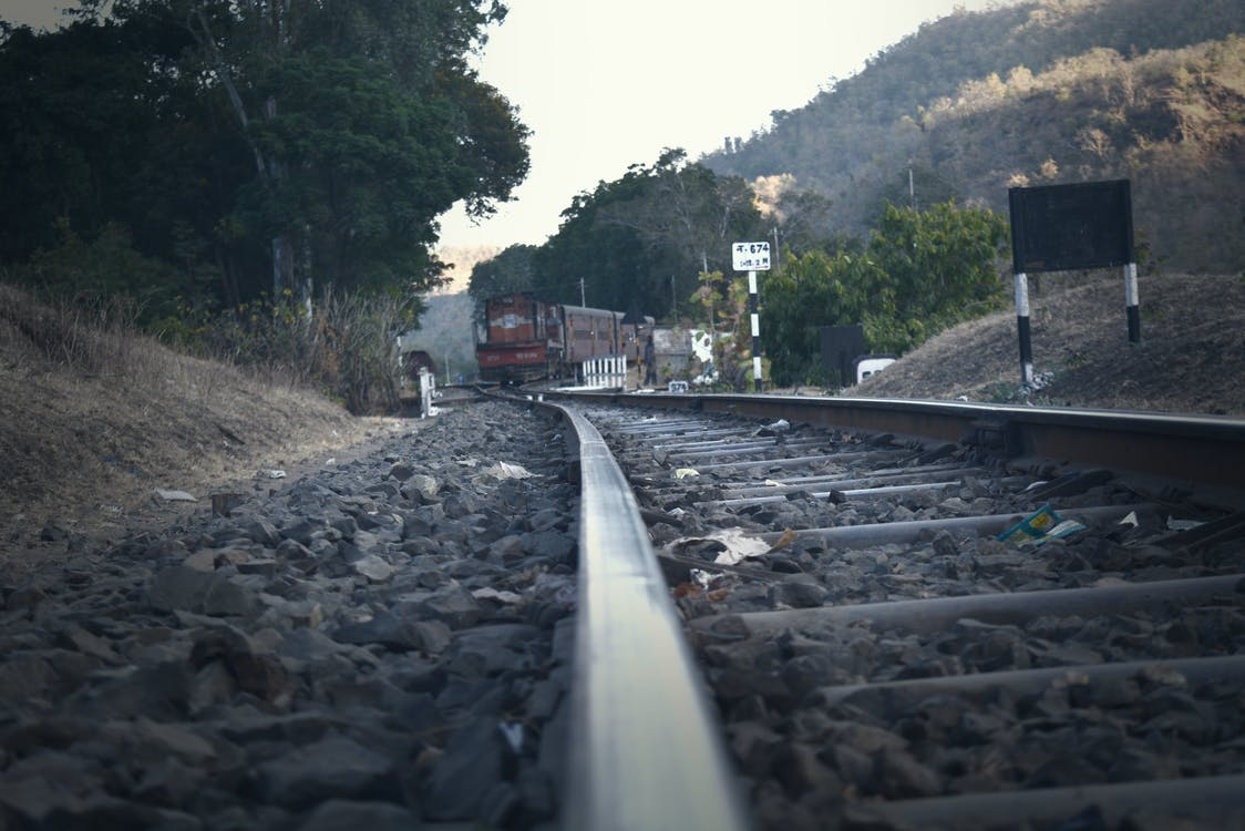 jernbane, liten rullestein, perspektiv