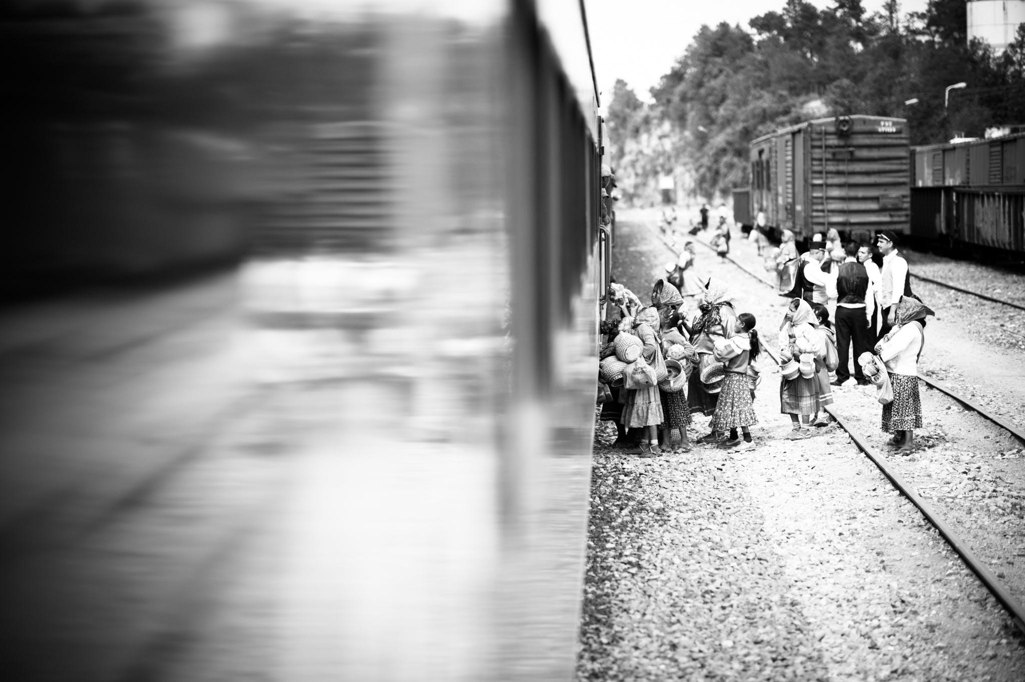 People Boarding The Train