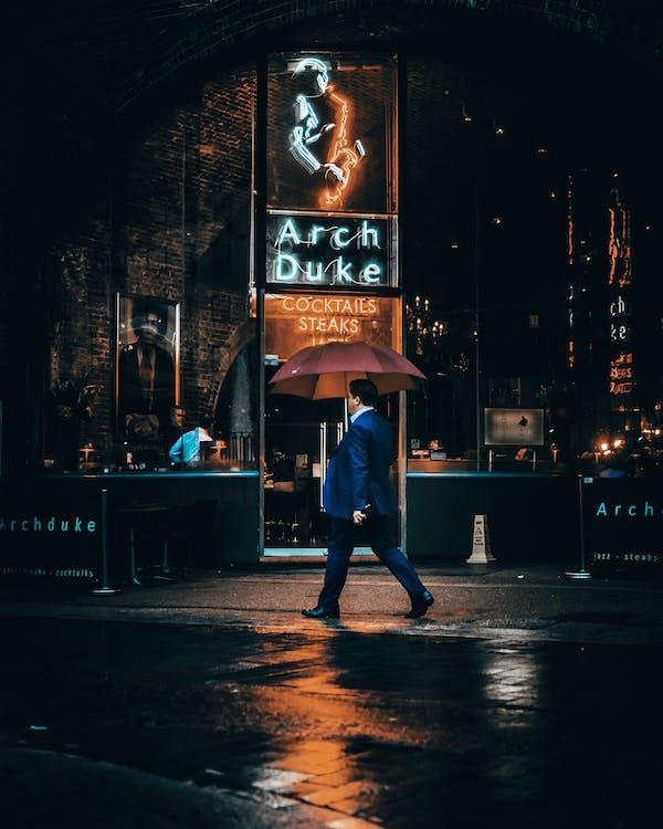 вечер, зонтик, лондон