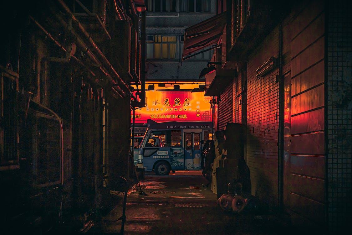fahrzeug, gasse, hongkong