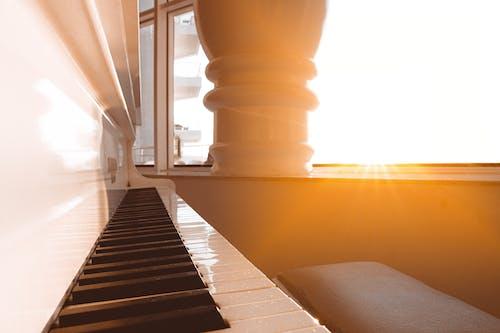 Kostenloses Stock Foto zu goldene stunde, instrument, klavier, klaviertasten