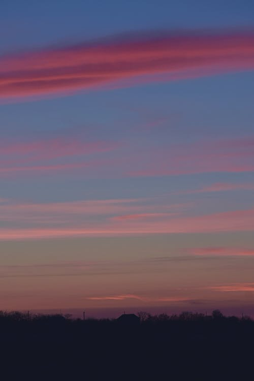 Pink Clouds at Blue Sky during Sunset
