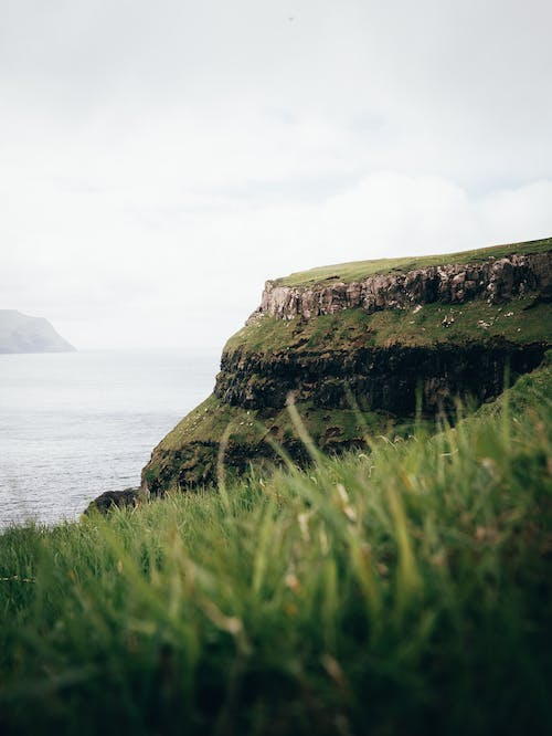 Green Grass Field Cliff